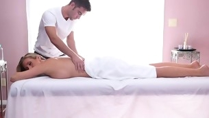 Adorable honey gets her sexy body massage increased by drilled