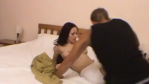 Luring brunette hair yon a good cackling is fucking yon her stud